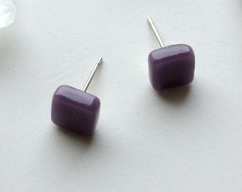Royal Purple Square Glass Post / Stud Earrings
