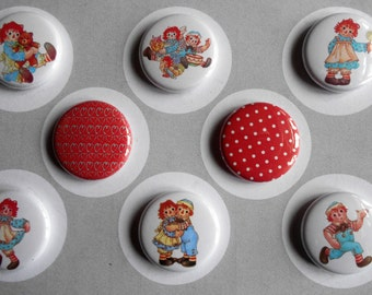 Raggedy Ann n Andy Flair Buttons-YOU CHOOSE STYLE