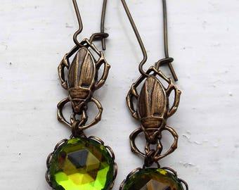 Egyptian scarab beetle earrings. Gothic earrings. Insect drop earrings. Long green earrings. Insect jewelry. Insect earrings. Boho jewelry.
