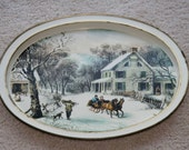 """SLEIGH RIDE: Vintage Currier and Ives Metal Tray, """"The American Homestead - Winter"""" Scene, Oval, White + Brass Accents, Serving / Home Decor"""