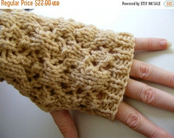 Black Friday sale Knit Gloves for Women, Knit Fingerless Gloves, Fingerless Mittens Lacey Tan, Tan Lacey Womens Gloves, Ready to Ship