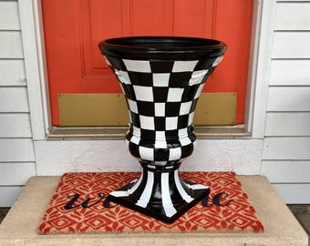 Painted urn planter // urn pot planter // whimsical painted planter urn // checkered urn