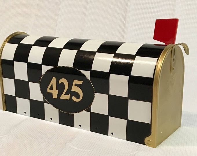 Painted mailbox, black white checked mailbox, whimsical painted mailbox