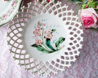 Vintage Milk Glass Serving Bowl Westmoreland Lattice Edge Pink Floral Handpainted