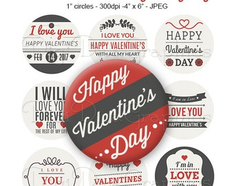Valentine's Day Love Sayings Bottle Cap Images 1 Inch Circles Digital JPG - Instant Download - BC1140