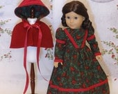 Victorian Cardinal - Victorian dress and capelet for American Girl doll with undergarments **RESERVED**