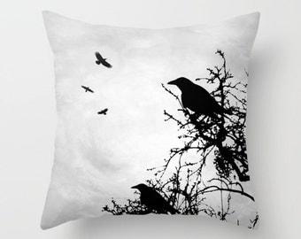 Throw Pillow Cushion Case Cover Design 43 Crow Raven tree grey black digital by L.Dumas