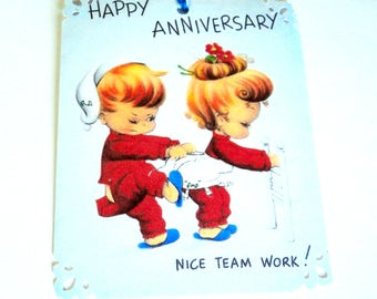 2 Gift Tags, Happy Anniversary Nice Team Work, Sweet Boy and Girl, Party Favor Tags