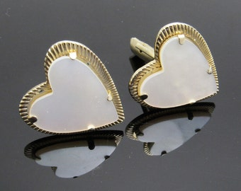 Vintage Heart Cufflinks Mother of Pearl Jewelry Accessories M7605