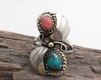 Long Sterling Turquoise Coral Ring Vintage Jewelry R7689