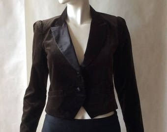 MOVING 4 GRADSCHOOL SALE 1970's vintage tuxedo styled jacket by Campus Casuals, coffee brown velveteen with glossy notched collar & tailored