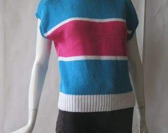 MOVING 4 GRADSCHOOL SALE Vintage short sleeve sweater, 1980's, striped in blue, fuschia, and white , medium / large