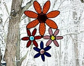 Stained Glass Panel, Gold Purple, and Rust, Daisies,Window Suncatcher