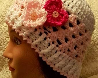 Crocheted Valentine's Day hat