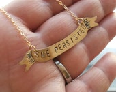 Personalized Banner Necklace, Hand Stamped Pendant, Custom Name Necklace, Resist, Feminist, She Persisted