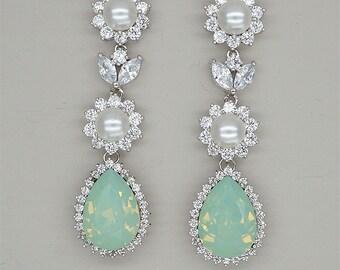 Chandelier Earrings, Mint Green Earrings, Bridal Earrings, Rhinestone Earrings, Bridesmaids Jewelry, Swarovski CHRYSOLITE OPAL Crystal