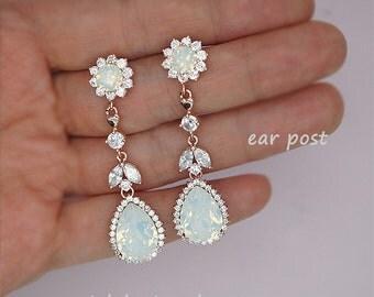 Wedding clip on earrings, clip-on wedding earrings, white opal earrings, chandelier earrings, white opal wedding jewelry, clip ons