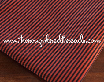 Halloween Stripes- Vintage Fabric Whimsical Novelty New Old Stock Jersey Knit Horizontal Orange Black