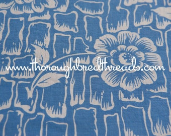 Bold Floral - Vintage Fabric Full Feedsack 50s 60s Novelty Blue Mod