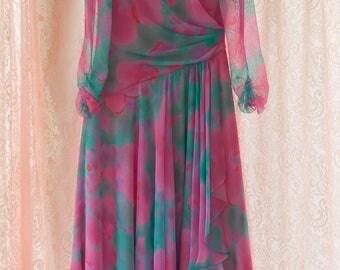 Party Dancing Dress - Evening 80s Chiffon Drape