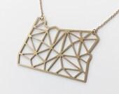 State of Oregon Geometric Pendant Necklace   Item No. ATL-N-166