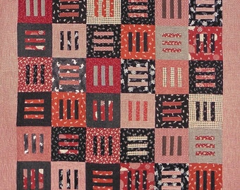 Patchwork Quilt - red and black Japanese Modern Thinking throw