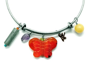 Butterfly Bracelet Dragonfly Adjustable Bangle Carved Carnelian Agate