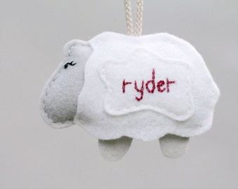 First Christmas Ornament. Personalized Baby Name. Embroidered Plush Lamb. Felt Christmas Ornament Keepsake. by Ordinary Mommy