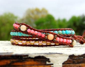 Coral and Larimar Boho Wrap Bracelet