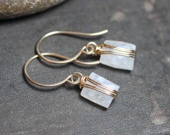 Moonstone Earrings Gold Wire Wrapped White Gemstone Earrings