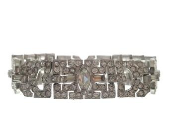 Art Deco Bracelet, Antique Fine 1920s Rhinestone Jewelry, Vintage Statement Wedding Jewelry, Art Deco Rhinestone Jewellery