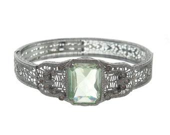 Art Deco Antique Peridot Bracelet, Vintage JHP Filigree Bangle, 1920s Designer Fine Art Deco Cuff, Deco Rhinestone Wedding Jewelry