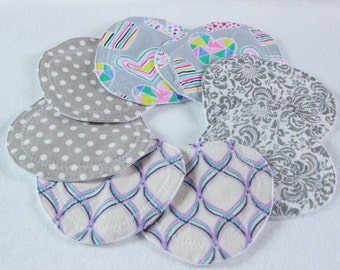 Nursing pads, Flower Petal/triangle shape nursing pads, waterproof, washable, reusable,  nursing  breast pads, flannel, zorb, pul, 4 pair
