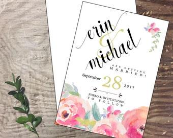 Save the Date engagement Bridal custom handmade cards  invitation wedding shower invite  bride personalized bride shower invitation