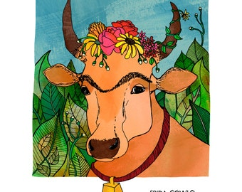 Frida Cowlo Blank Card - humorous, word-play, whimsical, pen and ink, digital, cow, funny, pun, humor