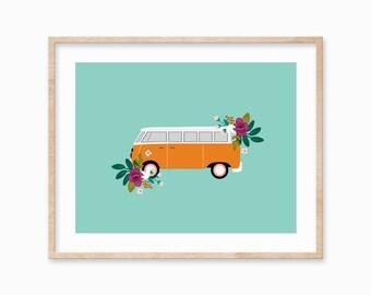 8x10 Vintage Bus Art Print, Volkswagen, Adventure, Wanderlust, Floral