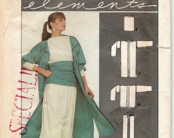 Simplicity 8726 1980s Elements Duster Coat Jacket Tubular Accessories Pattern Yoga  Womens Vintage Pattern Size  Fits Hips to 48 Inches
