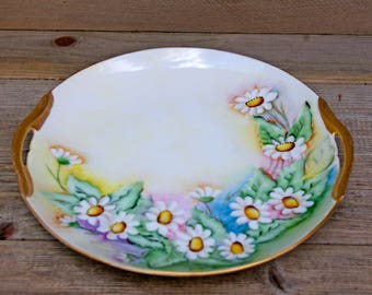Handpainted Daisy Handle Plate Japan
