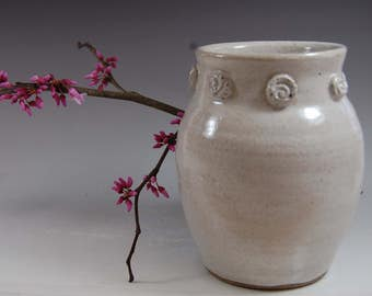 White Pottery Vase- Handmade ,flowers,home deco