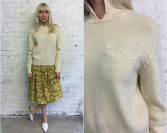 vintage LL Bean cream wool sweater / mock neck natural knit sweater