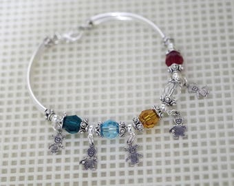 Swarovski Crystal Jewelry -  Mothers or Grandmothers Bracelet - Up To 5 Crystals / Birthstones - Boy and Girl Charms - Silver or Gold