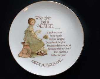 """1970s Holly Hobbie Mother's Day Plate Pretty Sweet Who Else But Mother China Decorative Collector's 8"""" Small Gift Plate Gingham Apron"""