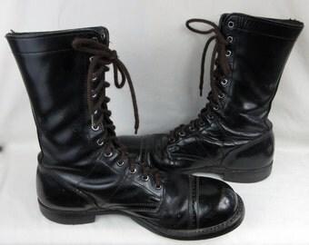 Vintage Mid Century Corcoran Cap Toe Paratrooper Mens Boots, Sz 10 D