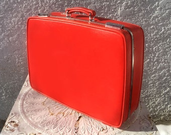 "Vintage Bright Orange American Tourister - ""Triumph"" Suitcase with Original Key"