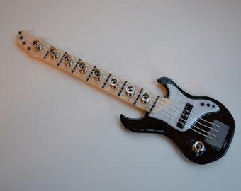 Bass guitar glass menorah by YafitGlass