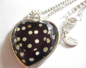 """Black White Polka Dot Resin Heart Pendant Necklace Claire's Vintage 20"""" Silver Chain Free Shipping"""