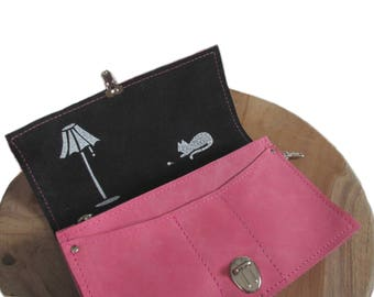 big pink leather wallet screenprint lamp cat