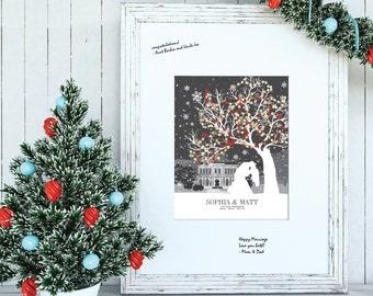winter wedding guestbook, Christmas wedding guestbook, winter wedding tree guestbook / W-WW01-1PS  HH3