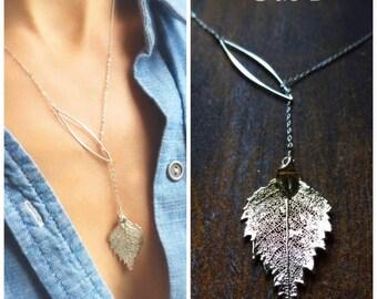 Birch leaf lariat, silver y necklace, real leaf necklace, leaf jewelry, fall wedding, winter, otis b, botanical, woodland, holiday gift idea