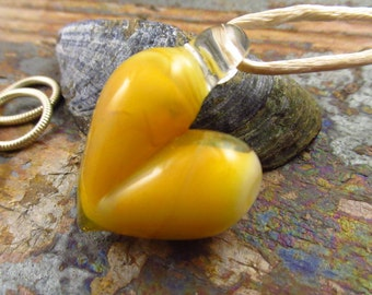 Sunshine Yellow Glass Heart Pendant- Made in Wales- Welsh borosilicate glass - Small Glass Pendant